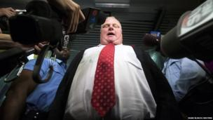 """Toronto Mayor Rob Ford responds to the Toronto police investigation dubbed """"Project Brazen 2"""" to the media at City Hall in Toronto, October 31, 2013."""