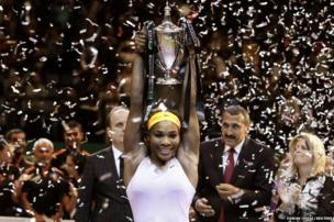 Serena Williams of the US celebrates her victory against Li Na of China after their WTA tennis championships final match in Istanbul, 27 October 2013