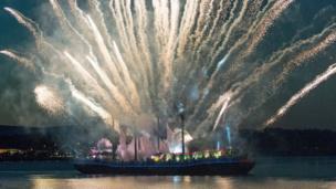 Fireworks on River Foyle.