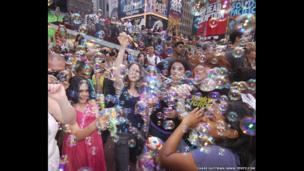 Bubble gun battle, New York, USA.