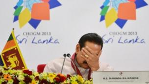 Sri Lanka President Mahinda Rajapaksa at the Commonwealth Heads of Government Meeting (CHOGM) in Colombo in November 2013