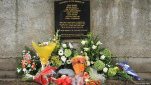 A week later, a remembrance service was also held in in Greysteel, County Londonderry, 20 years after eight people were murdered at the Rising Sun bar in 1993. Two gunmen from the Ulster Freedom Fighters (UFF) opened fire on the bar on 30 October, 1993. They shot dead seven people and another man later died of his injuries.