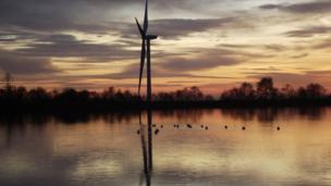 Pennie Winkler from Blackwood in Caerphilly county sent this photo of a wind turbine that has been installed near Manmoel. She said she thought it made a nice picture in the sunset at Pentfan Pond