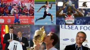 Clockwise left to right: Crystal Palace celebrate promotion to the Premier League, Adam Gemili, Christine Ohuruogu, Jose Mourinho, Andy Murray kissing Wimbledon trophy and Gareth Bale signs for Real Madrid