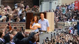 Crowds gather outside St Mary's Hospital as the Duke and Duchess of Cambridge leave with Prince George