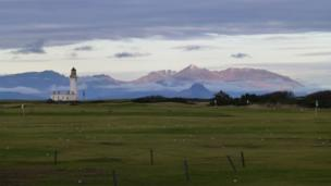 Turnberry lighthouse and the Isle of Arran