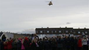 RAF helicopter over Elgin