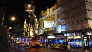 London Fire Brigade sent eight fire engines and more than 50 firefighters. The theatre's roof was inspected using an aerial ladder platform.