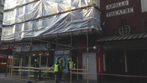 Scaffolding at the Apollo Theatre