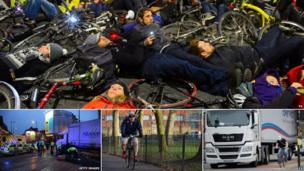 "Top: Cycling ""die-in"" protest, scene of a collision in Camden, London Mayor Boris Johnson cycling and a cyclist riding next to a lorry"