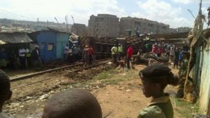 Freight train crash site in the Nairobi slum of Kibera