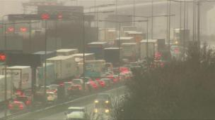 Cars queue at the Dartford Crossing in Kent