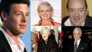 Clockwise from left: Cory Monteith; Bernie Nolan, Mel Smith, Dennis Farina, Anna Wing