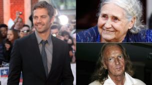 Clockwise from left: Paul Walker, Doris Lessing, Sir John Taverner