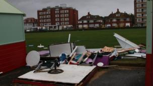 Destroyed beach hut, Brighton