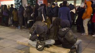 Overnight queues outside Selfridges in London for the Boxing Day sales.