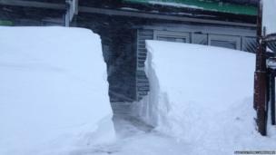 Snow drifts at Glenshee Ski Centre