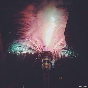 Fireworks light the sky. Photo: Sha Llena