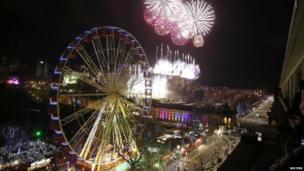 Fireworks explode over Edinburgh Castle during the Hogmanay celebrations