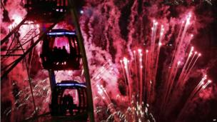 Fireworks and big wheel