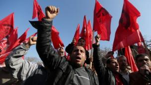 Palestinians from the Marxist-Leninist secular political and military organisation demonstrate in Gaza