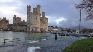 Flooding around Caernarfon Castle in north Wales