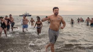 Coney Island Annual Polar Bear Swim. Photo: Lem Lattimer