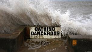 "A sign warning ""bathing dangerous"""