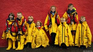 Children at Tobermory lifeboat station