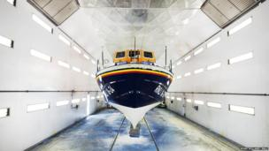 Lifeboat in paint shop