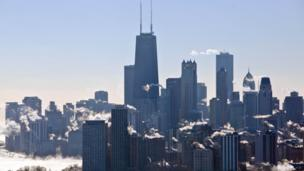 Steam coming from high rise buildings and skyscrapers in Chicago
