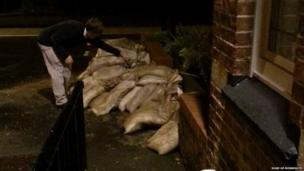 Sandbags on the Sunningwell Road next to the Duke of Monmouth pub