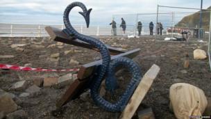 Upturned seat on Aberystwyth seafront