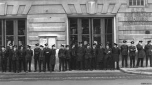 Fire fighters at Westminster Fire Station in about 1977