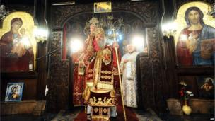 """Christmas liturgy at St. Clement""""s Cathedral in Skopje on January 7, 2014."""