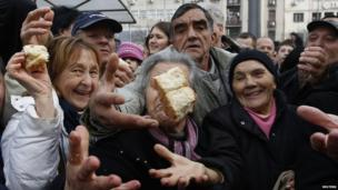 Orthodox Christmas Day festivities, at Terazije Square in Belgrade January 7, 2014.