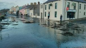 The high waters at Strangford Lough caused some flooding to the shore at Portaferry, as photographed by Portaferry Gala.