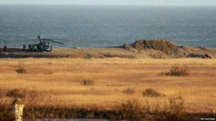 Scene of HH-60G Pave Hawk helicopter crash at Cley next the Sea, Norfolk
