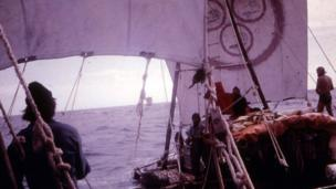 View from one raft to another at sea