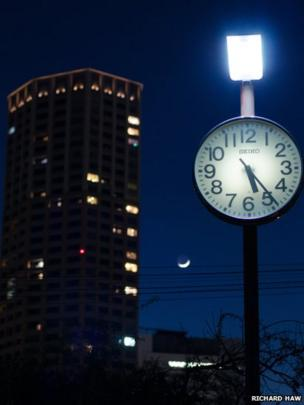 Clock and the moon