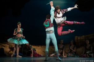 Dancers perform during a press performance of Le Corsaire by the English National Ballet