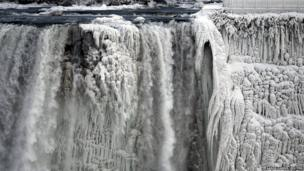 Part of the US side of the Niagara Falls has frozen