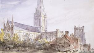 Chichester Cathedral watercolour by John Constable