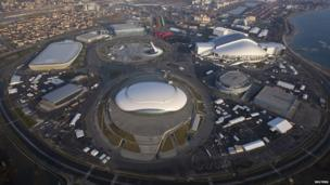 An aerial view from a helicopter shows the Olympic Park