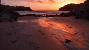 Winter sunset at Porthdafarch, near Holyhead, Anglesey