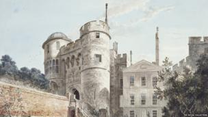 The Norman Gateway and Moat Garden c. 1770