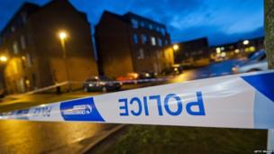 Police tape at Mikaeel Kular's home