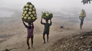 Workers unload vegetables from a boat on a cold and foggy winter morning on the banks of the River Turag in Ashulia, Bangladesh