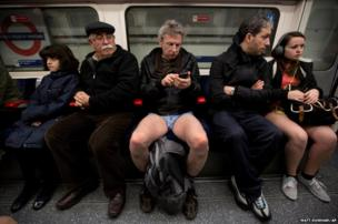Passengers on the London Underground take part in the No Trousers Tube Ride