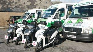 Green Dragon scooters and buses